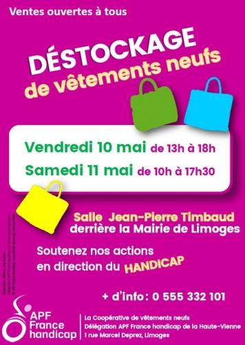déstokage le 10 et 11 mai salle Jean Pierre Timbaud à Limoges